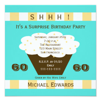 60th Cupcake do convite de aniversário da surpresa
