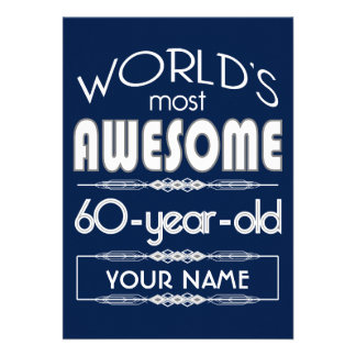 60th Do aniversário dos mundos azul escuro Convite Personalizados