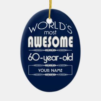 60th Do aniversário dos mundos azul escuro Ornamento De Cerâmica Oval