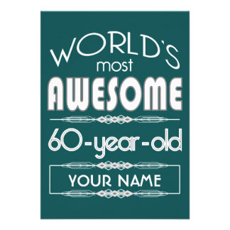 60th Do aniversário dos mundos verde escuro Convites Personalizados