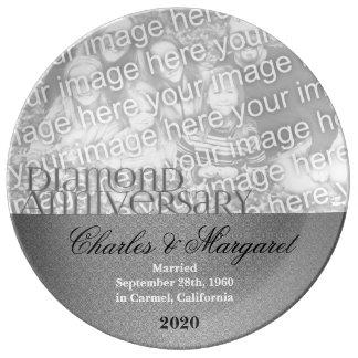 60th Foto do aniversário de casamento do diamante Prato De Porcelana