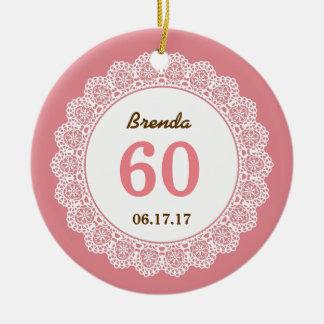 60th Laço branco L34EZ da lembrança do aniversário Ornamento De Cerâmica Redondo