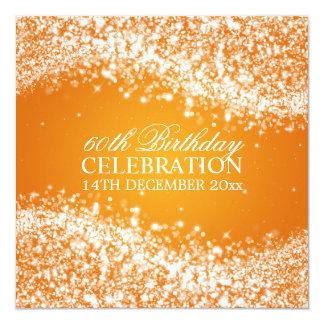 60th laranja elegante da onda Sparkling da festa Convites Personalizados