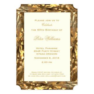 60th Marfim do ouro do aniversário do aniversário Convite 12.7 X 17.78cm