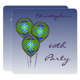 60th O balão azul convida Convite Quadrado 13.35 X 13.35cm