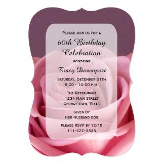 60th O convite de aniversário com lindo aumentou Convite 12.7 X 17.78cm