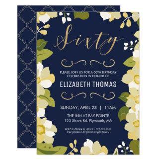 60th O convite do aniversário, personaliza flores,