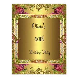 60th Ouro floral 3 do vintage ornamentado da festa Convite