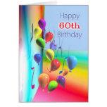 60th parede feliz do balão do aniversário cartão comemorativo