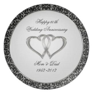 60th Placa do aniversário de casamento Louça De Jantar