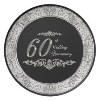 60th Placa do aniversário de casamento Louças De Jantar
