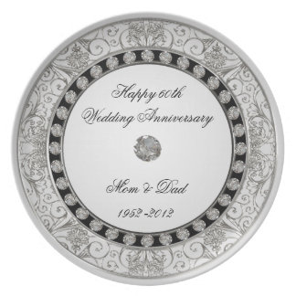 60th Placa do aniversário de casamento Prato