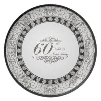 60th Placa do aniversário de casamento Pratos De Festas