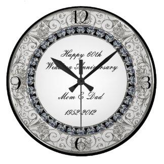 60th Pulso de disparo do aniversário de casamento Relógios De Pendurar