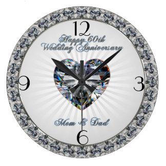 60th Pulso de disparo do aniversário de casamento Relógios Para Pendurar