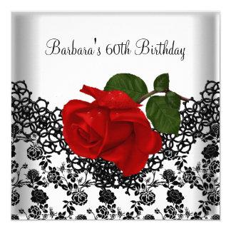 60th Rosa vermelha do branco do preto do laço do Convite Quadrado 13.35 X 13.35cm