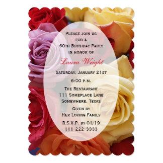 60th Rosas da cor da festa de aniversário multi Convite 12.7 X 17.78cm