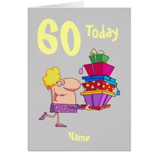 60th sessenta desenhos animados do aniversário cartão