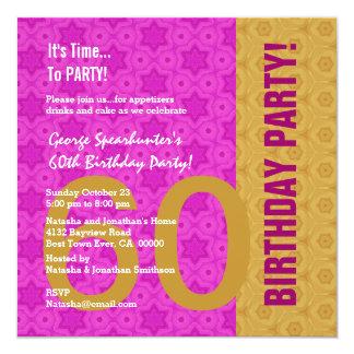 60th Teste padrão moderno da festa de aniversário Convite Quadrado 13.35 X 13.35cm