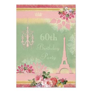 60th Torre Eiffel e candelabro cor-de-rosa do Convite 12.7 X 17.78cm