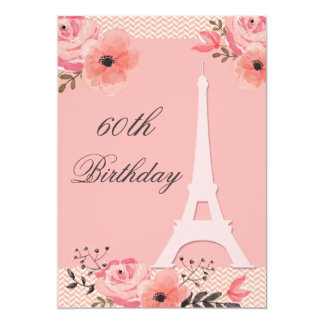 60th Torre Eiffel floral chique de Paris do Convite 12.7 X 17.78cm