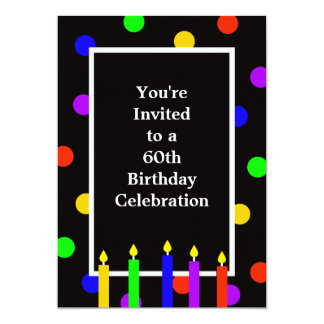 60th Velas coloridas do convite de aniversário