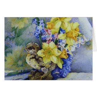 6296 Daffodils no cartão do plantador do pássaro