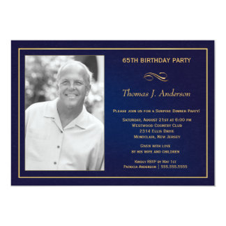 65th Azuis marinhos dos convites da foto da festa