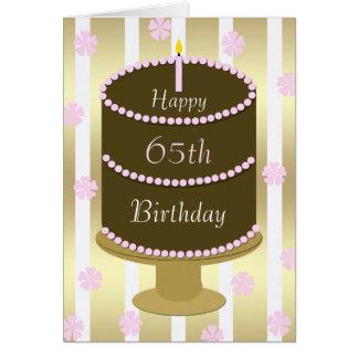 65th Bolo do cartão de aniversário no rosa