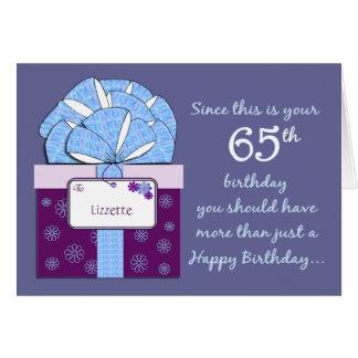 65th Cartão customizável do aniversário