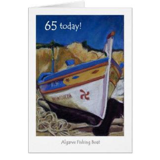65th Cartão de aniversário - barco de pesca do