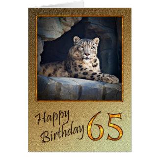 65th Cartão de aniversário com um leopardo de neve