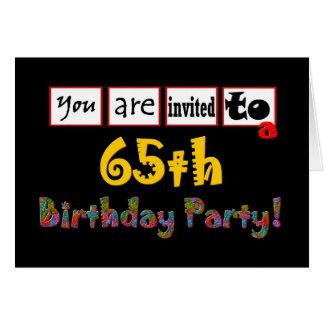 65th convite de aniversário festivo & colorido