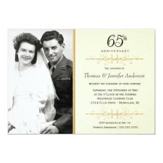 65th convites elegantes do aniversário com foto convite 12.7 x 17.78cm