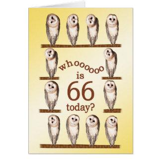 66th aniversário, cartão curioso das corujas