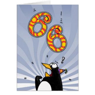 66th aniversário - cartão da surpresa do pinguim