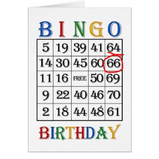 66th Cartão do Bingo do aniversário