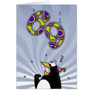69th aniversário - cartão da surpresa do pinguim