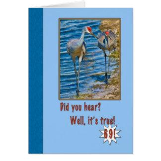 69th Cartão de aniversário com guindastes de