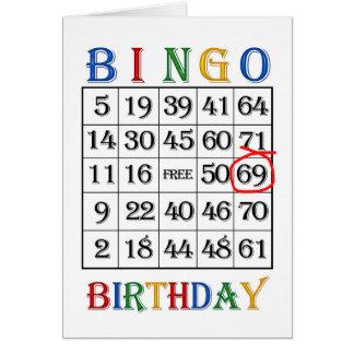 69th Cartão do Bingo do aniversário