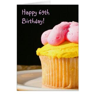 69th cartão feliz do muffin do aniversário