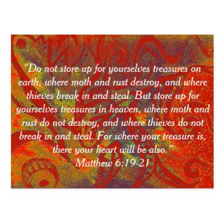 6:19 de Matthew do cartão da bíblia - tesouros da