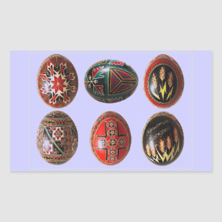 6 ovos da páscoa ucranianos pintados mão adesivo retangular