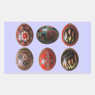 6 ovos da páscoa ucranianos pintados mão adesivo em forma retangular