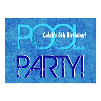 6o Branco azul V06 da festa na piscina do miúdo do Convites Personalizados