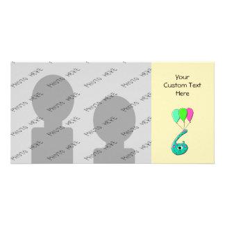 6o Desenhos animados do aniversário, verde da cerc Cartão Com Foto