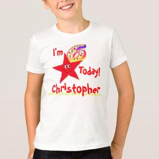 6o Estrelas vermelhas do smiley da camisa da festa