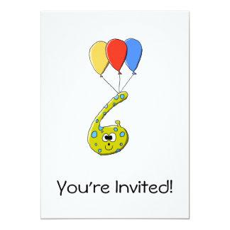 6o Monstro dos desenhos animados do aniversário Convite 12.7 X 17.78cm