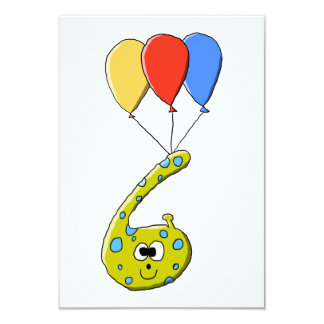 6o Monstro dos desenhos animados do aniversário Convite 8.89 X 12.7cm