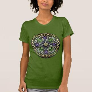 [700] Cruz celta [ouro com esmalte preto] Tshirt
